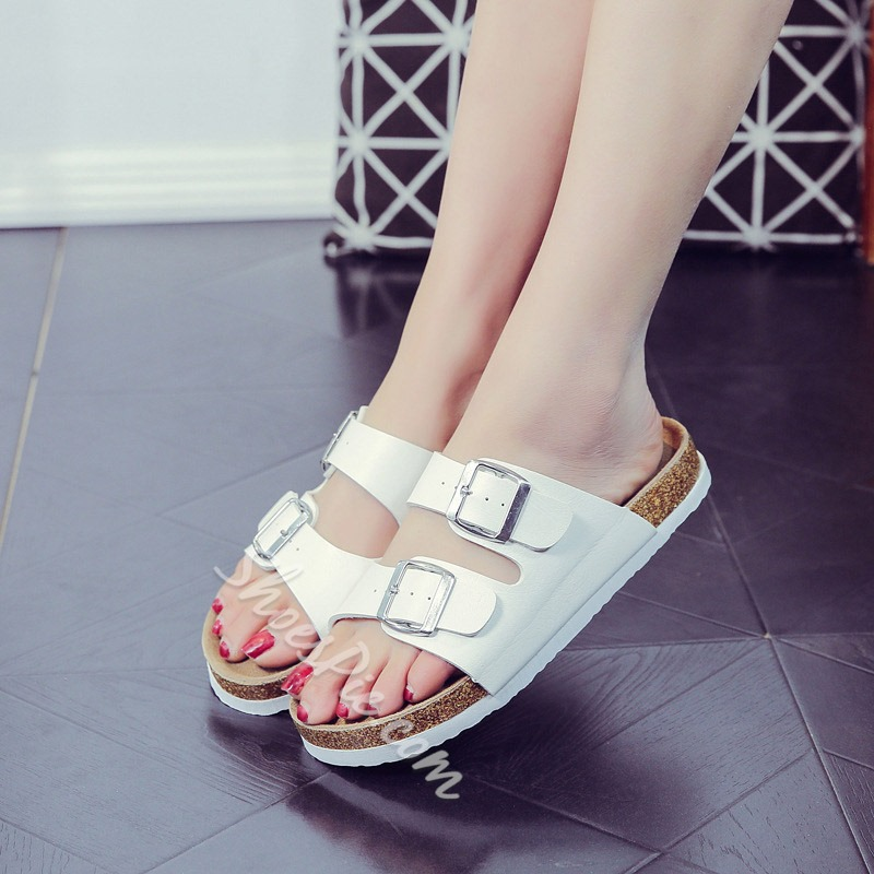 Shoespie Open Toe Buckle Flat Slippers