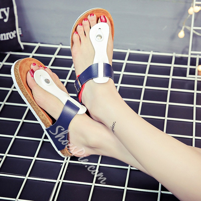 Shoespie Clip Toe Buckle Flat Casual Slippers