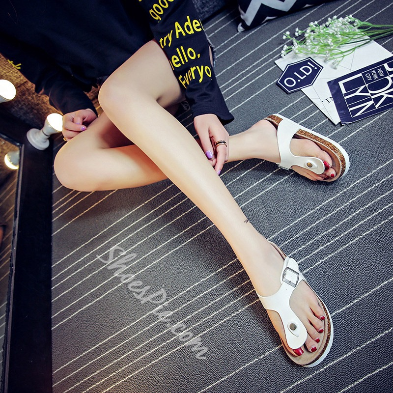 Shoespie Clip Toe Buckle Casual Slippers
