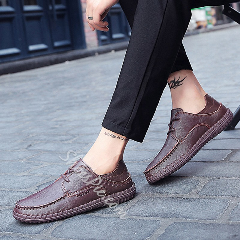 Shoespie Flat Large Size Lace-Up Men's Loafers