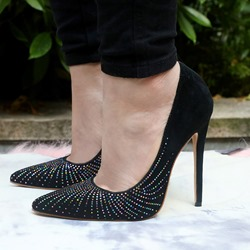 Shoespie Black Rhinestone Stiletto Heel Pointed Toe Pumps