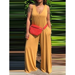 Casual Plain Full Length Wide Legs Women's Jumpsuit