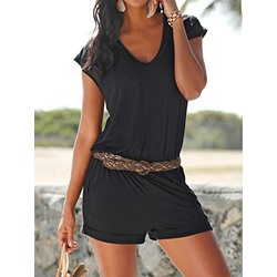 Shorts Plain Casual Straight Women's Romper