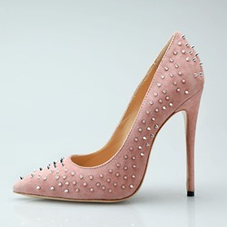 Shoespie Rivet Pink Stiletto Heel Pumps