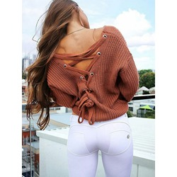 Thin Backless Lace-Up Loose Women's Sweater
