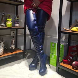 Shoespie Blue Pointed Toe Zipper Stiletto Heel Boots