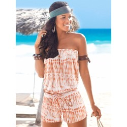 Lace-Up Shorts Color Block Straight Women's Romper