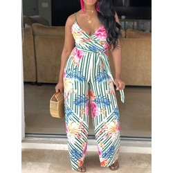 Full Length Strap Floral Wide Legs Women's Jumpsuit