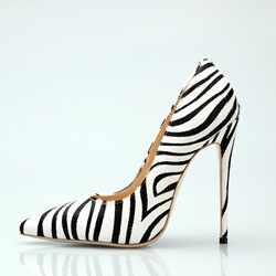 Shoespie Zebra Stripe Pointed Toe Stiletto Heels