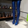 Shoespie Blue Platform Side Zipper Stiletto Heel Rivet Boots