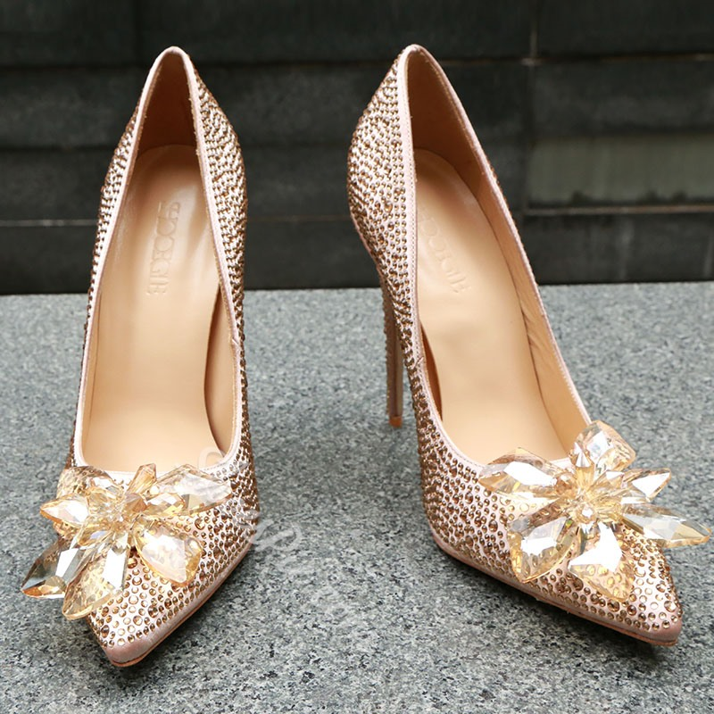 Shoespie Rhinestone Appliques Stiletto Heel Pointed Toe Pumps