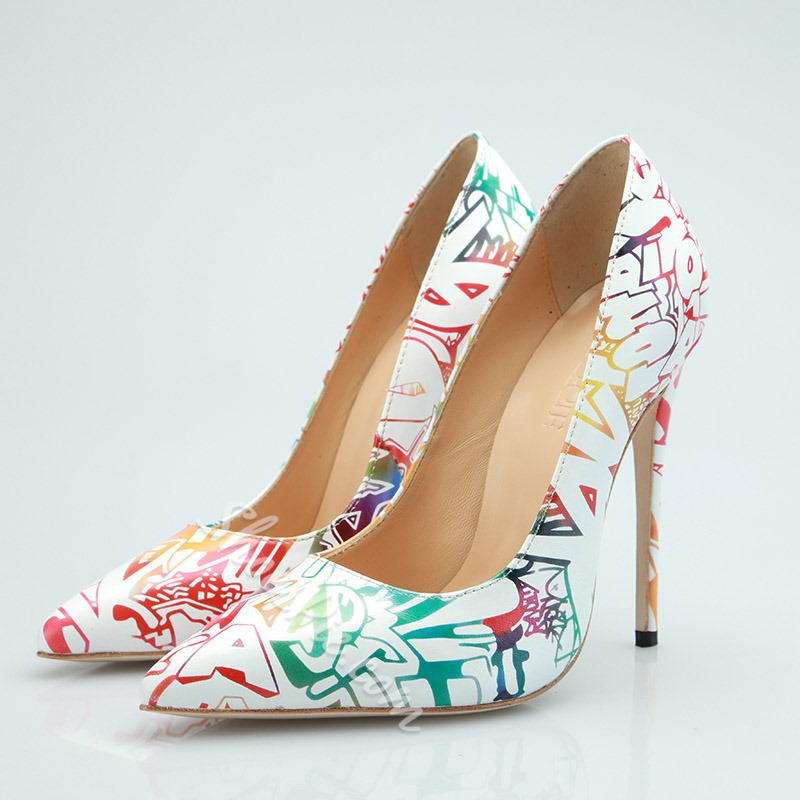 Shoespie Print White High Heel Pumps