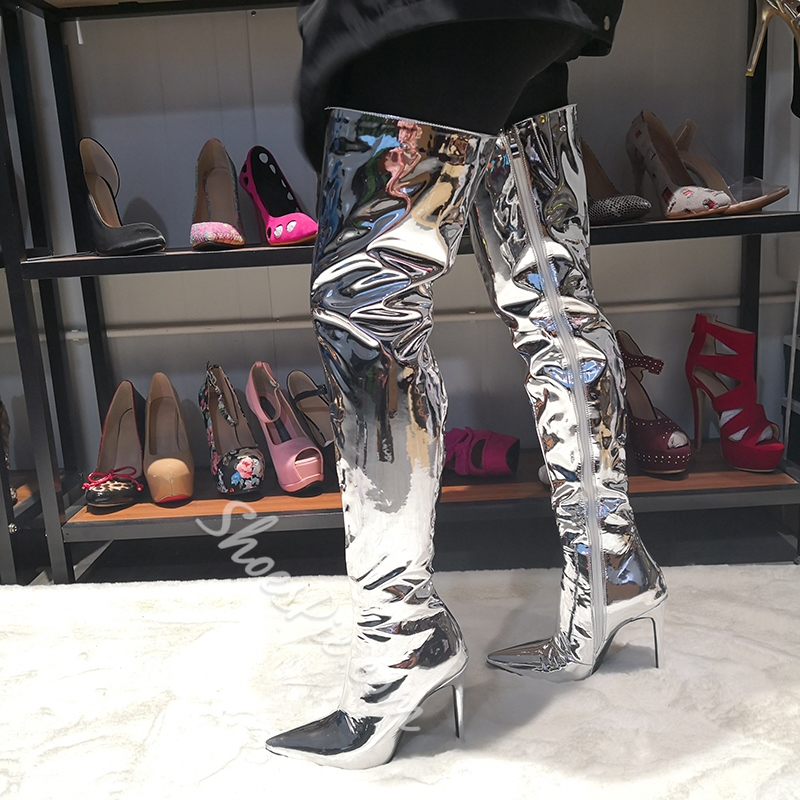 Shoespie Silver High Heel Pointed Toe Boots