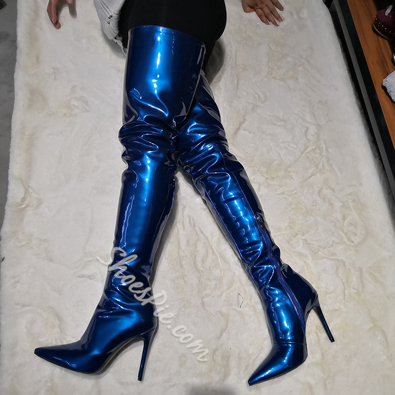 Shoespie Blue Stiletto Heel Pointed Toe Plain Banquet Boots