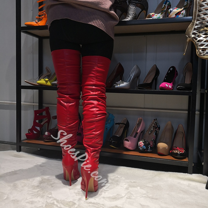 Shoespie Red Stiletto Heel Pointed Toe Boots