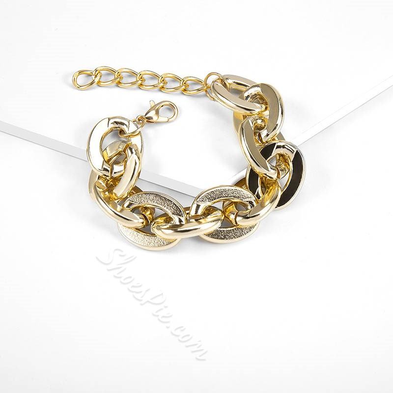 Gold Color Stainless Steel Bracelet Necklace Jewelry Set