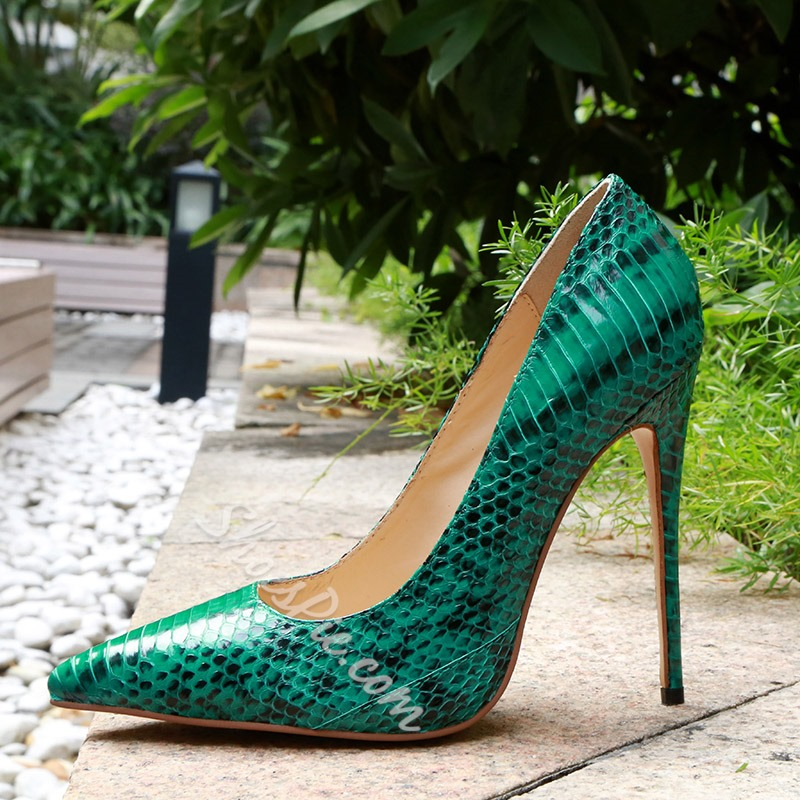 Shoespie Green Snake Print Stiletto Heels