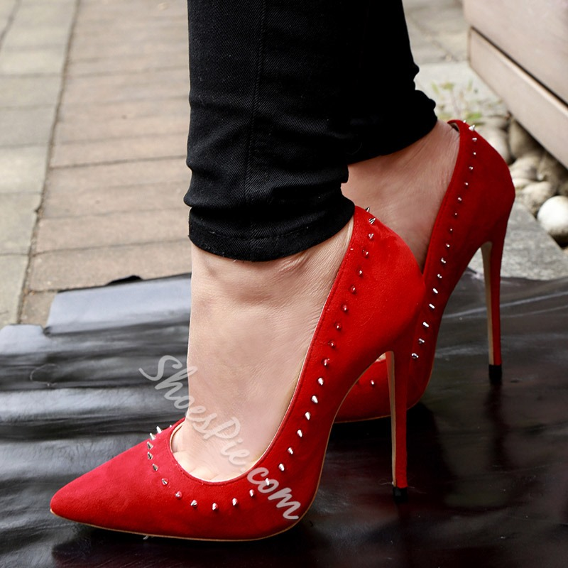 Shoespie Rivet Red Stiletto Heel Pumps