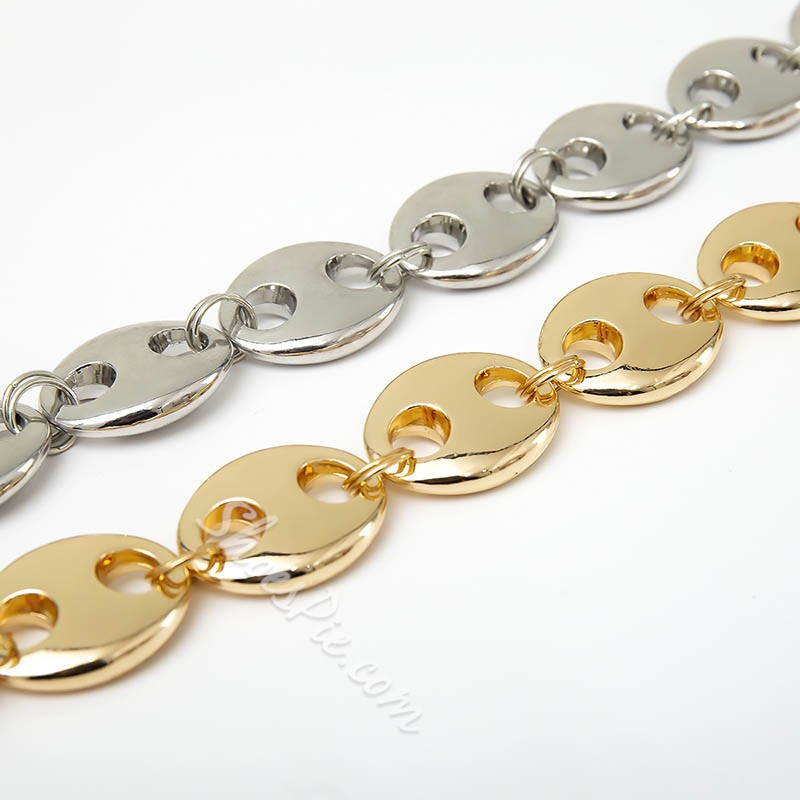 Short Gold Silver Filled Double Color Pig Nose Necklace