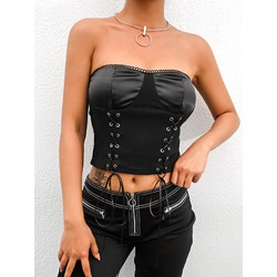 Cotton Wrapped Chest Bra Lace-Up Short Women's Tank Top