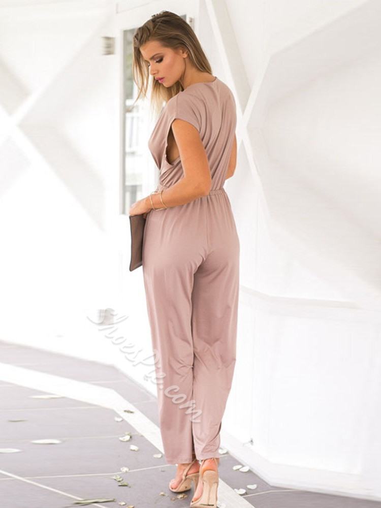 Plain Full Length Fashion Loose Women's Jumpsuit