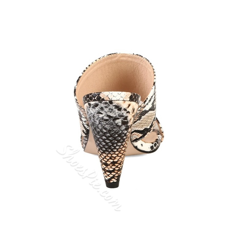 Shoespie Snake Pattern Cone Heel Summer Slippers