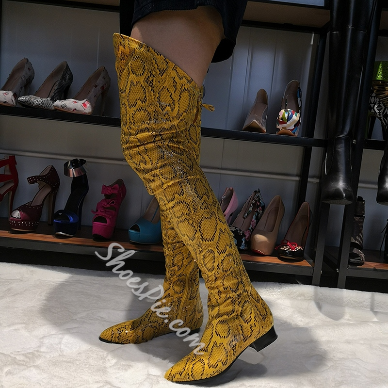 Shoespie Yellow Snake Pattern Zipper Pointed Toe Thigh Boots
