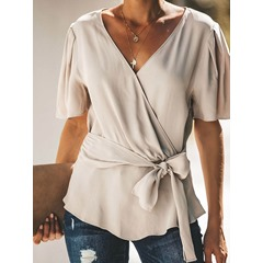 Lace-Up Plain V-Neck Short Sleeve Women's Blouse