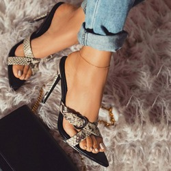 Shoespie Leopard Snake Print Cross Slippers