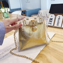 Shoespie Lock PU Plain Square Crossbody Bags