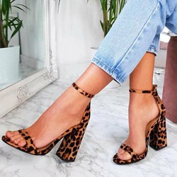 Shoespie Sexy Open Toe Chunky Heel Leopard Sandals