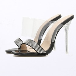 Shoespie Rhinestone Black Clear Stiletto Heels