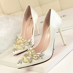 Shoespie Sexy Stiletto Heel Rhinestone Pointed Toe Banquet Thin Shoes