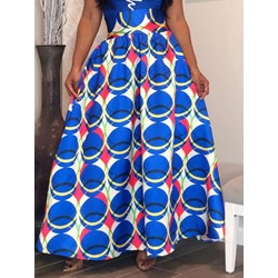 Floor-Length Expansion Print Fashion Women's Skirt