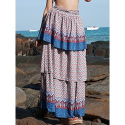 Floral Ankle-Length Print Travel Look Women's Skirt