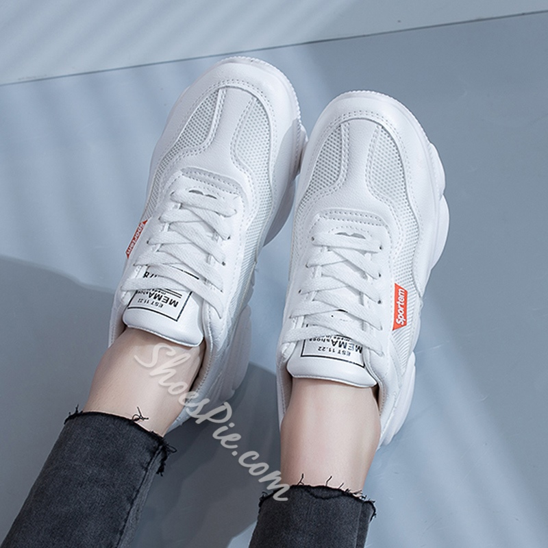 Shoespie White Lace-Up Chunky Sneakers