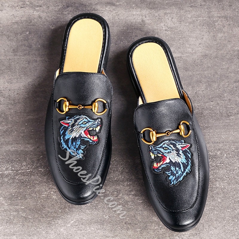 Shoespie Embroidery Black Men's Backless Loafers