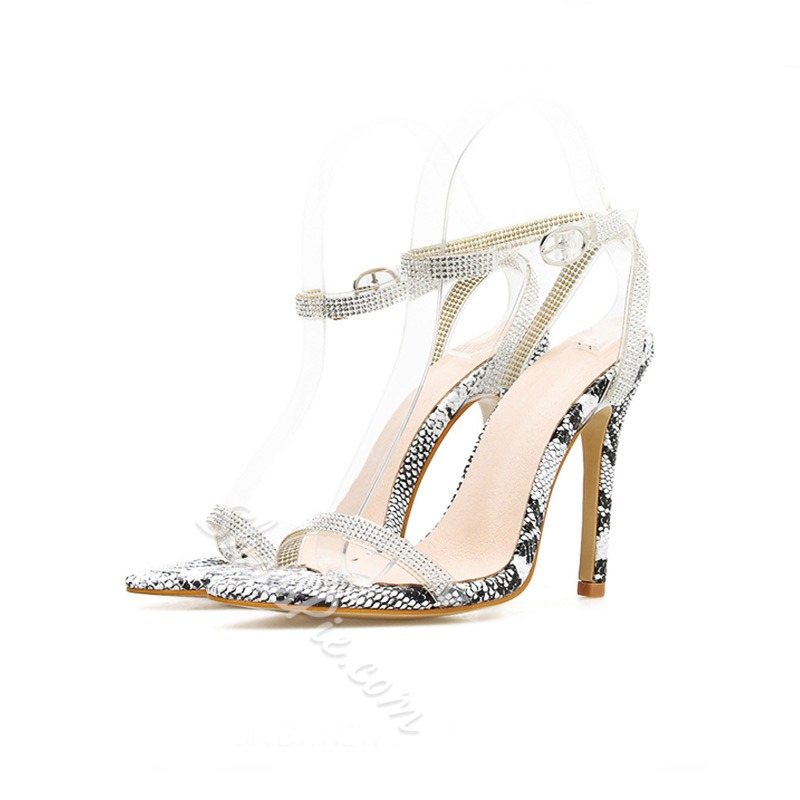 Shoespie Sexy Snake Pattern Buckle Stiletto Heel Rhinestone Sandals