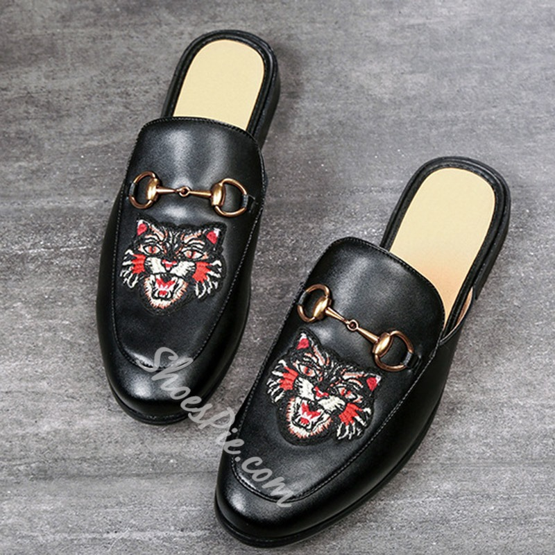 Shoespie Animal Print Backless Men's Loafers