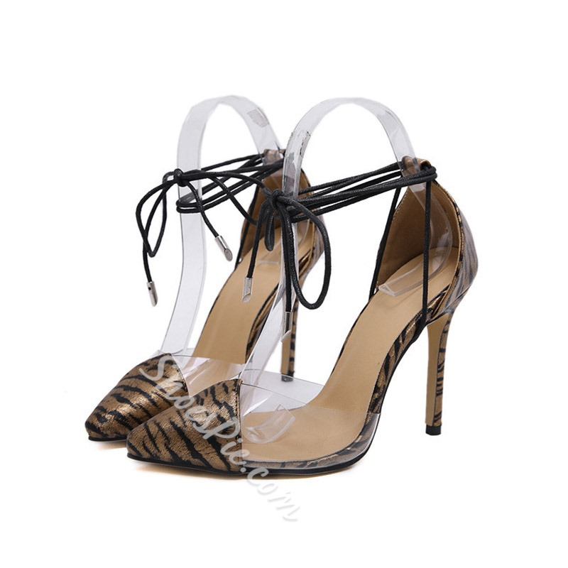 Shoespie Strappy Zebra Lace-Up Stiletto Heel Sandals
