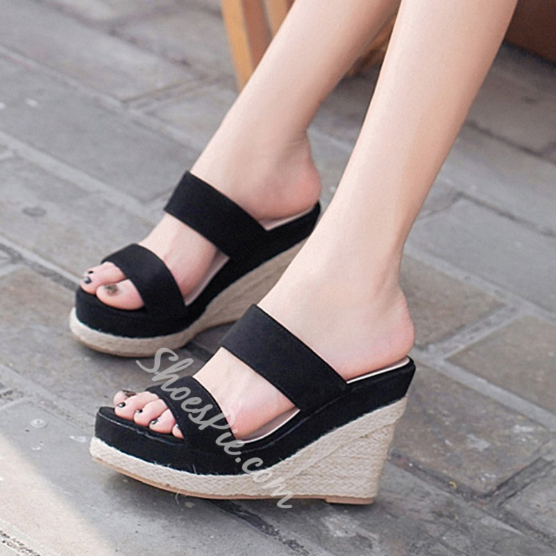 Shoespie Wedge Heel Backless Sandals