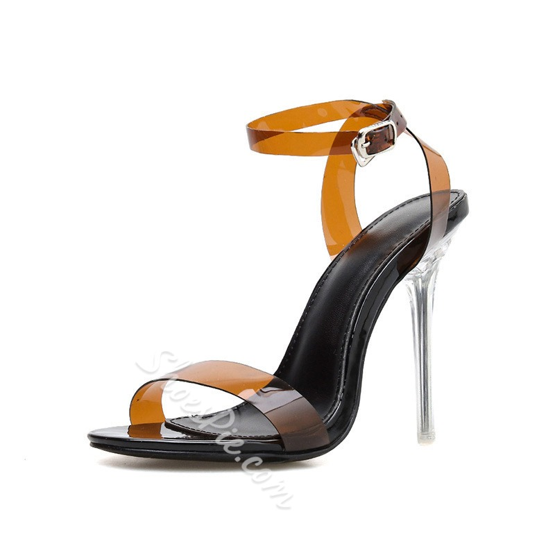 Shoespie Jelly Buckle Stiletto Heel Clear Sandals