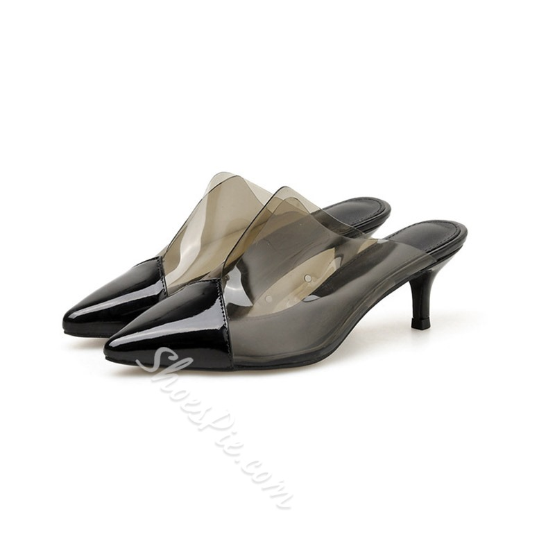Shoespie Heel Clear Closed Toe Mules
