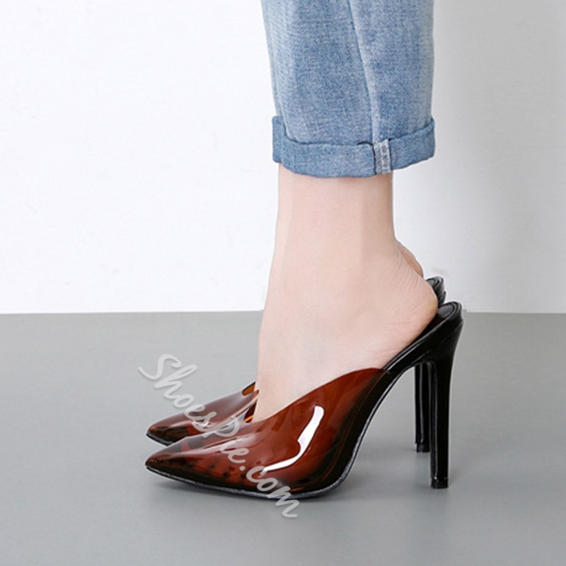Shoespie Clear Stiletto Heel Mules