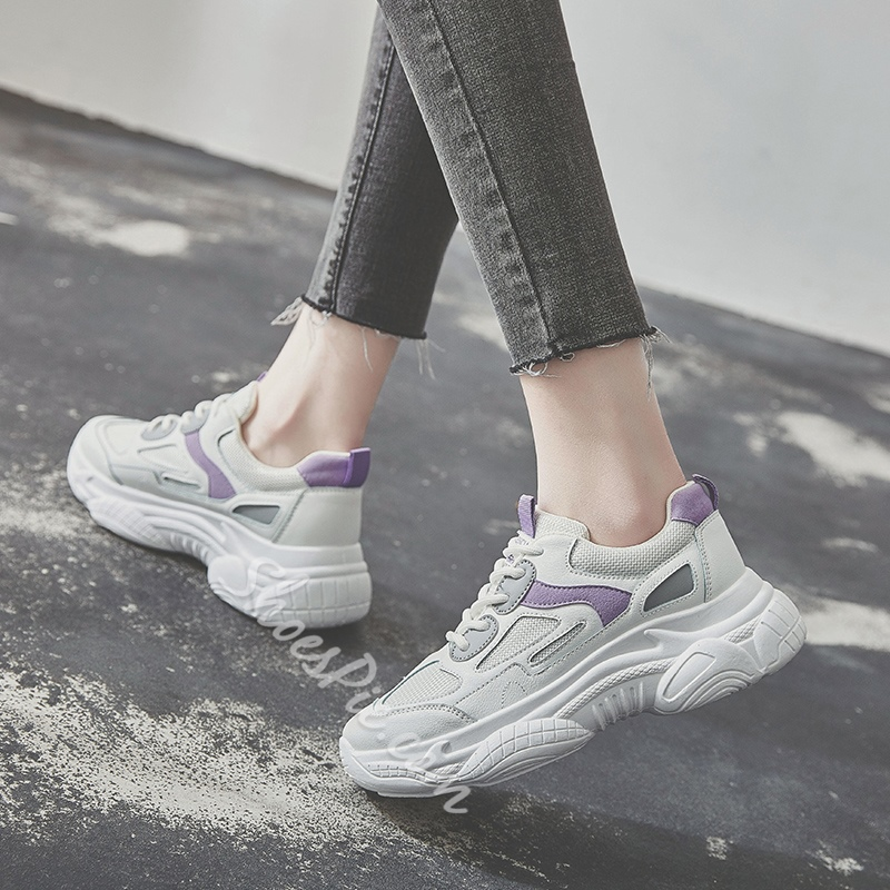 Shoespie Lace-Up Casual Flat Sneakers