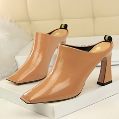 Shoespie Chunky Heel Closed Toe Slippers