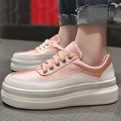Shoespie White Platform Lace-Up PU Sneakers