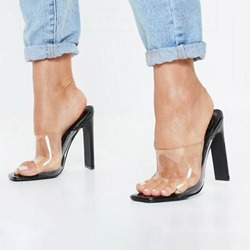 Shoespie Chunky Heel Clear Backless Slippers