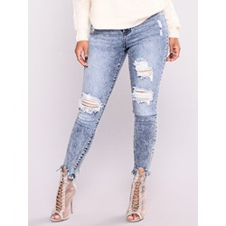 Pencil Pants Worn Plain Women's Jeans