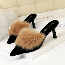 Shoespie Pointed Toe Low Heel Mules